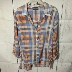 Michael Stars Plaid Button Down Shirt Large